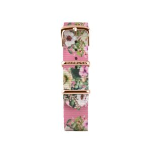 Cinturino rosa fiori in nylon 14mm , collezione floreal .