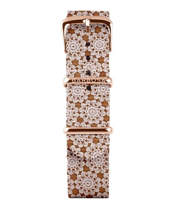 Cinturino ricamo beige in nylon 18mm , collezione mediterranean .