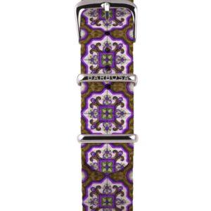 Cinturino Maiolica Viola in nylon 18mm , collezione mediterranean .