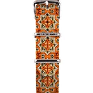 Cinturino maiolica arancione in nylon 18mm , collezione mediterranean .
