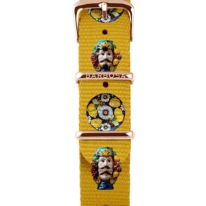 Cinturino testa di moro giallo in nylon 18mm , collezione mediterranean .