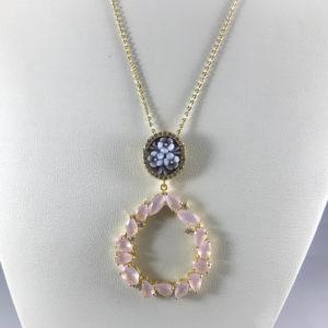 Collana con ciondolo in argento dorato quarzi rosa e cameo