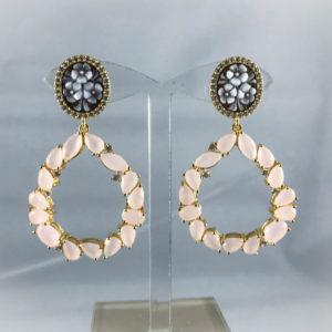 Orecchini Pendenti  Floreali in argento, zirconi e quarzi rosa