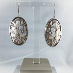 Orecchini  d'argento Floreali Ovali - Cameo Italiano
