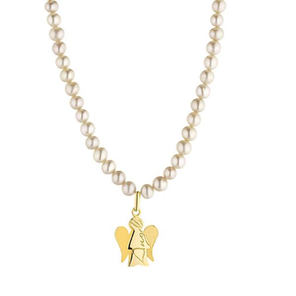 Collana di Perle e un angelo charm
