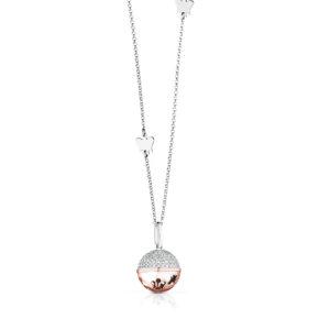 Collana con Chiama Angeli in  argento rosato e zirconi cubici