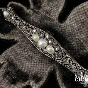 Spilla Liberty in oro con rose di diamanti e perle naturali
