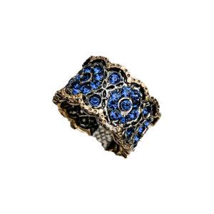 Anello Fascia Zirconi Blue