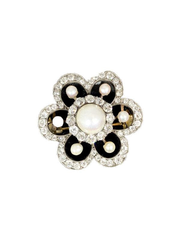 Spilla a Fiore oro , argento,  brillanti e perle.