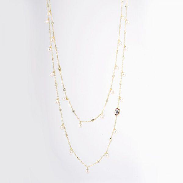 Collana Lunga Perle (Argento Dorato)